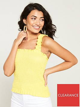 v-by-very-ruched-top-lemon