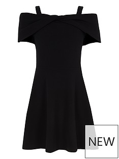 997a8b786f1 River Island Girls Bow Bardot Skater Dress - Black