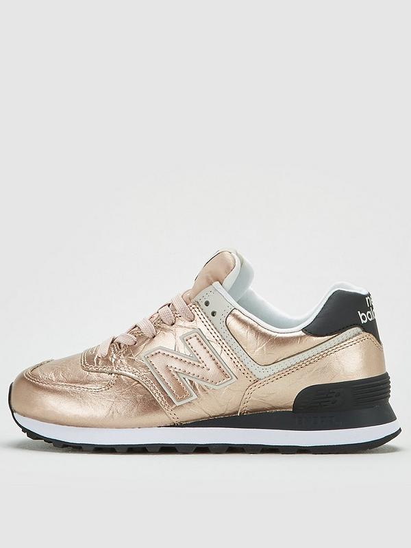 574 Metallic Leather Trainer Rose Gold