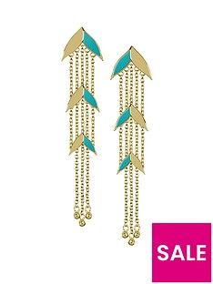 sara-miller-sara-miller-gold-and-teal-enamel-leaf-drop-ladies-earrings