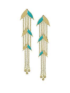 sara-miller-sara-miller-gold-and-teal-enamel-leaf-drop-ladies-earrings