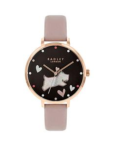 radley-radley-black-and-mother-of-pearl-dog-dial-pink-leather-strap-ladies-watch