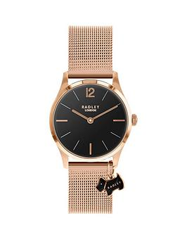 radley-radley-luxury-every-black-and-day-rose-gold-dog-charm-dial-rose-gold-stainless-steel-mesh-strap-ladies-watch