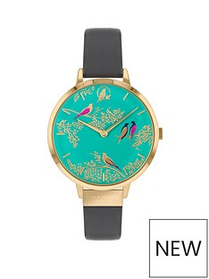 sara-miller-sara-miller-chelsea-turquoise-and-gold-detail-34mm-dial-grey-leather-strap-ladies-watch