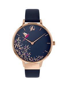 sara-miller-sara-miller-chelsea-navy-and-rose-gold-hummingbird-38mm-dial-navy-leather-strap-ladies-watch