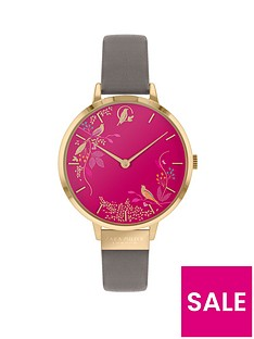 sara-miller-sara-miller-chelsea-pink-birds-and-gold-detail-34mm-dial-grey-leather-strap-ladies-watch