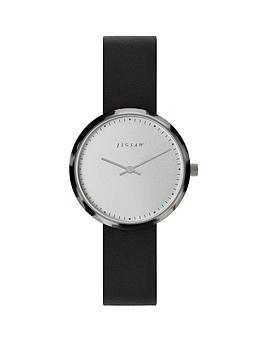 jigsaw-jigsaw-round-white-dial-with-grey-tortoise-shell-bezel-and-black-leather-strap-ladies-watch
