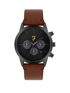 farah-farah-black-and-grey-detail-chronograph-dial-brown-leather-strap-mens-watch
