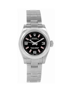 rolex-rolex-pre-owned-oyster-perpetual-black-and-pink-baton-dial-stainless-steel-bracelet-ladies-watch-ref-176200