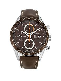 tag-heuer-tag-heuer-pre-owned-carrera-chronograph-brown-dial-brown-leather-strap-mens-watch-ref-cv2013