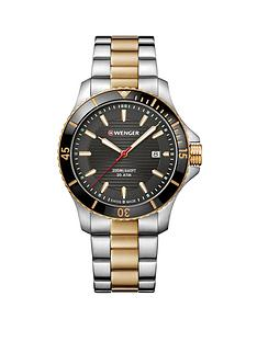wenger-wenger-swiss-made-seaforce-black-and-gold-detail-43mm-date-dial-two-tone-stainless-steel-bracelet-mens-watch