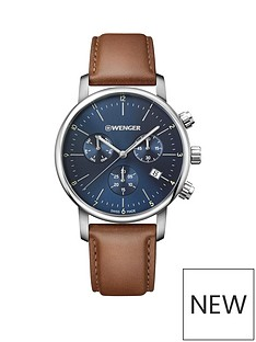 wenger-wenger-swiss-made-urban-classic-blue-and-silver-detail-chronograph-44mm-dial-tan-leather-strap-mens-watch