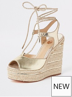 b97b7e8295f River Island River Island Metallic Rope Tie Wedges - Gold