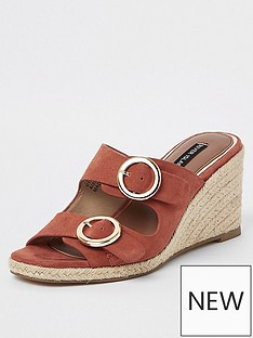 f8146f1c020 River Island River Island Peep Toe Buckle Wedges - Orange