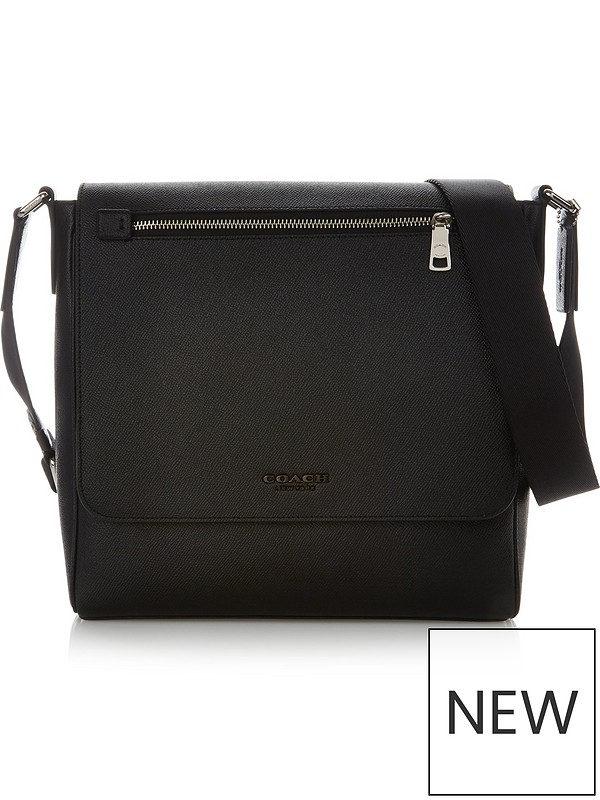 03b33352 Men's Kennedy Leather Cross-Body Bag - Black