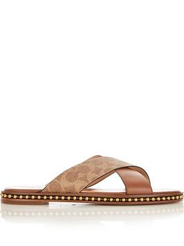 coach-hailey-bead-chain-signature-sliders-tan