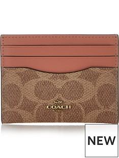 coach-colour-block-coated-canvas-signature-flat-card-holder-tan