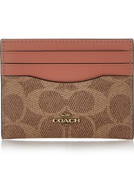 coach-colour-block-coated-canvas-signature-flat-card-holder-tan