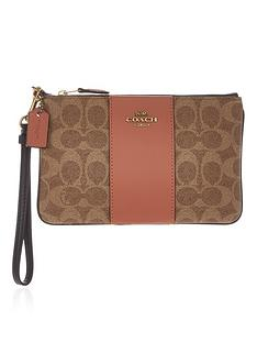 coach-signature-printnbspcolour-block-coated-canvasnbspwristlet-tan