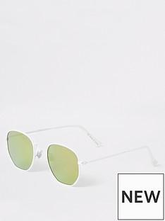 142aa99b7670f River Island Boys Hexagon Retro Sunglasses - White