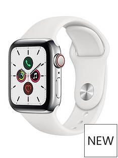 Apple Watch Series 5 (GPS + Cellular), 40mm Stainless Steel Case with White Sport Band
