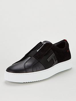 hugo-futurism-logo-slip-on-trainers-black