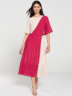 hugo-kirana-colour-block-pleated-dress-pink