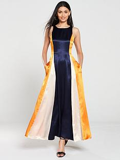 hugo-kanisi-colour-block-maxi-dress-navyorange