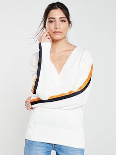 hugo-sumala-stripe-sleeve-v-neck-jumper-whiteorange