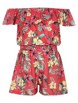 river-island-girls-tropical-bardot-frill-playsuit-pink