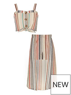 a7333ef7176 River Island Girls Stripe Crop Top And Skort Outfit - Pink