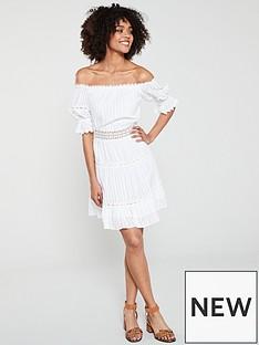 d203c76e63891 River Island River Island Bardot Lace Panel Mini Dress - White