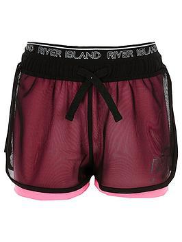 river-island-girls-ri-active-mesh-layered-shorts-pink
