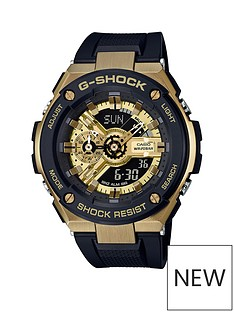 casio-casio-g-shock-gold-and-black-chronograph-200m-wateh-resistant-black-silicone-strap-watch