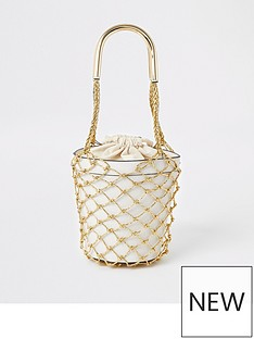 8270c00b43 River Island River Island Metallic Straw Bucket Bag - Beige