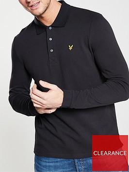lyle-scott-long-sleeve-plain-polo-shirt-black