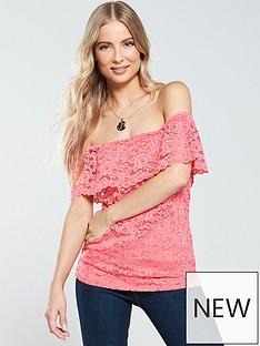 9715b0f8837 V by Very Lace Bardot Top - Coral
