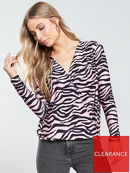 v-by-very-jersey-wrap-blouson-top-pink-animal