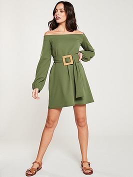 v-by-very-jersey-bardot-weaved-buckle-dress-khaki