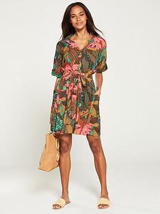 v-by-very-tie-waist-utility-dress-tropical-print