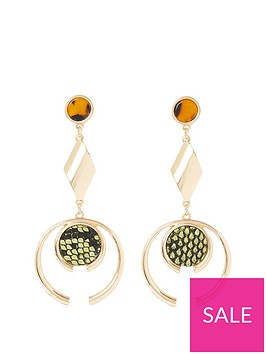 river-island-river-island-animal-print-drop-earrings-gold