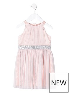 26d24ac7a93a9 River Island Mini Mini Girls Mesh Sequin Occasion Dress - Pink