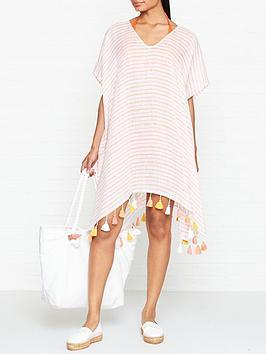 seafolly-striped-linen-kaftan-pink