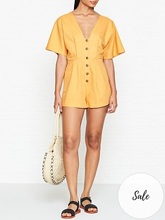 seafolly-button-up-playsuit-gold