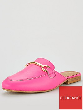 v-by-very-moscow-leather-backless-snaffle-trim-loafer-pink