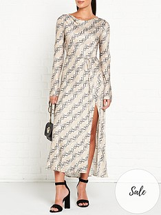 bec-bridge-high-neck-long-sleeve-satin-midi-dress-snake