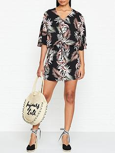 seafolly-ocean-alley-print-kaftan-black