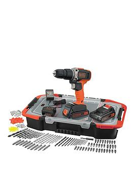 black-decker-black-decker-18v-lithium-ion-combi-hammer-drill-with-2-batteries-165-accessories-with-kitbox