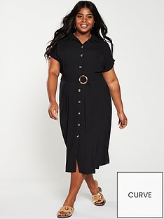 6bc1fbd4 V by Very Curve Button Through Shirt Dress - Black