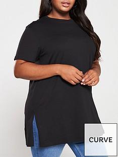 v-by-very-curve-step-hem-tunic-black